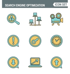 Icons line set premium quality of search engine vector image