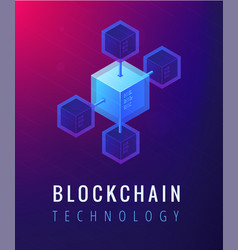 Isometric blockchain technology concept vector