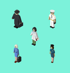 Isometric human set of doctor hostess seaman and vector