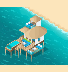 isometry chic bungalow on the maldive islands vector image