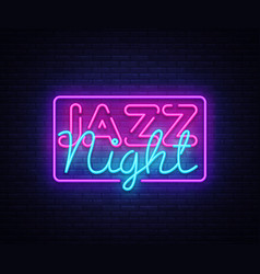 jazz night neon sign jazz music design vector image