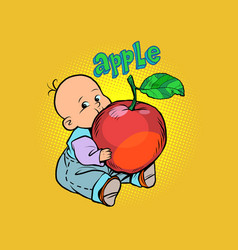 little baby favorite cute baby eating an apple vector image