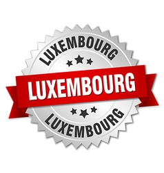 Luxembourg round silver badge with red ribbon vector image