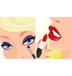Make-up twice red lipstick and violet eye shadow vector