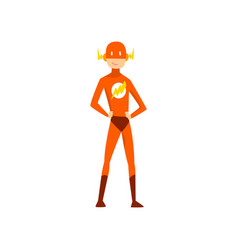 Man in superhero costume funny person at carnival vector