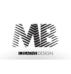 Mb m b lines letter design with creative elegant vector