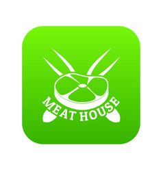 Meat house icon green vector