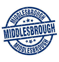 middlesbrough blue round grunge stamp vector image