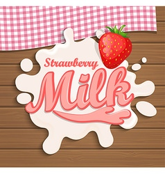 Milk strawberry splash vector image