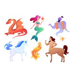 mythical fantasy creatures set cartoon mythology vector image