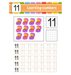 Number 11 trace and write handwriting practice vector