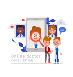 Online medical consultation concept patient vector