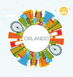 orlando florida city skyline with color buildings vector image