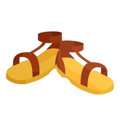 Pair of brown sandals icon cartoon style vector