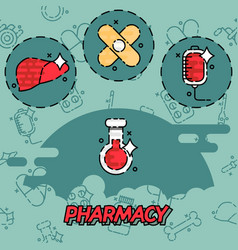 Pharmacy flat concept icons vector