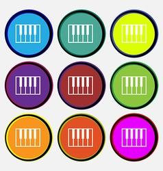 piano key icon sign Nine multi colored round vector image