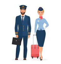 pilot and stewardess in uniform isolated flat vector image
