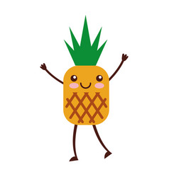 pineapple tropical and exotic fruit kawaii vector image