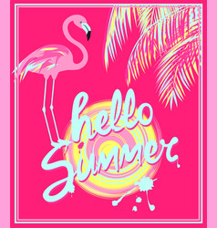 Pink banner with mint color hello summer hand vector
