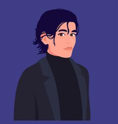 Portrait a young man with medium length hair vector