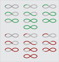 Progress bars in the form of a symbol infinity vector image