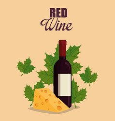 red wine bottle with cheese vector image
