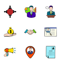reward icons set cartoon style vector image