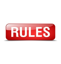 Rules red square 3d realistic isolated web button vector