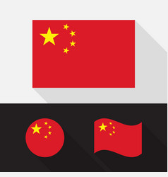 Set china flag flat design vector