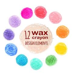 set colored spots wax crayon vector image
