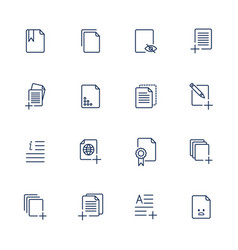 set document icons paper icons vector image
