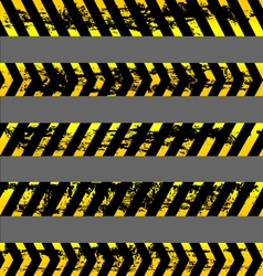 Set grunge yellow caution tapes vector