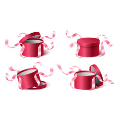 Set icons pink gift box with ribbons and closed vector