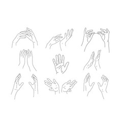Set linear outline hands two hands hold an vector
