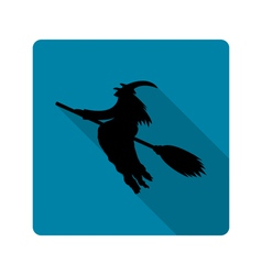 silhouette a witch on a broom icon vector image