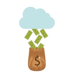 Silhouette with money falling of the cloud in bag vector