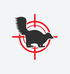 Skunk silhouette animal pest icon red target vector