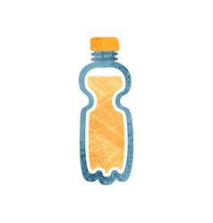small plastic bottle with fresh orange juice vector image