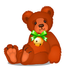 soft toy teddy bear with jingle bells with green vector image