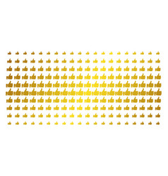 thumb up golden halftone grid vector image