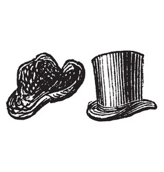 Top hat vintage engraving vector