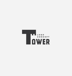 Tower lettering logo vector