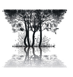 Trees by the lake vector