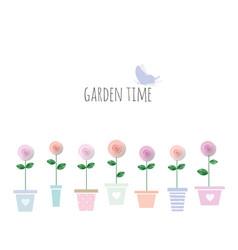 Trendy print with garden flowers in pots cute vector