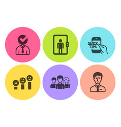 Vacancy customer satisfaction and teamwork icons vector