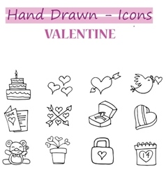 Valentine day icons with hand draw vector