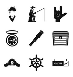 Wanderer icons set simple style vector