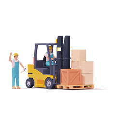 warehouse forklift moving loaded pallet vector image