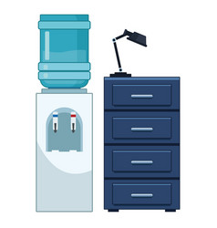 Water dispenser and file cabinet vector