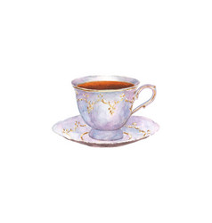 Watercolor porcelain cup of tea and saucer vector